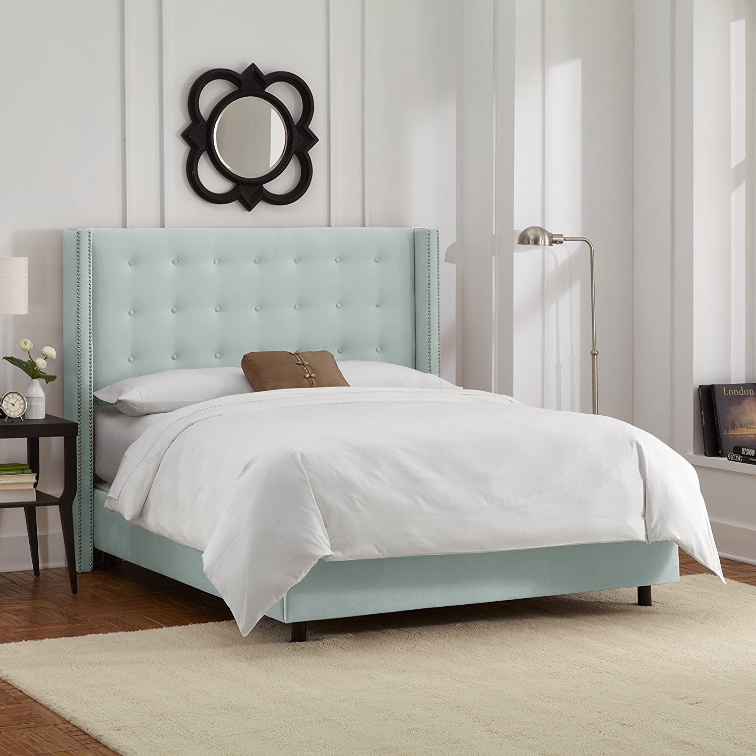 tufted bedroom furniture. Amazon.com: Skyline Furniture Nail Button Tufted Wingback King Bed In Velvet Pool: Kitchen \u0026 Dining Bedroom G