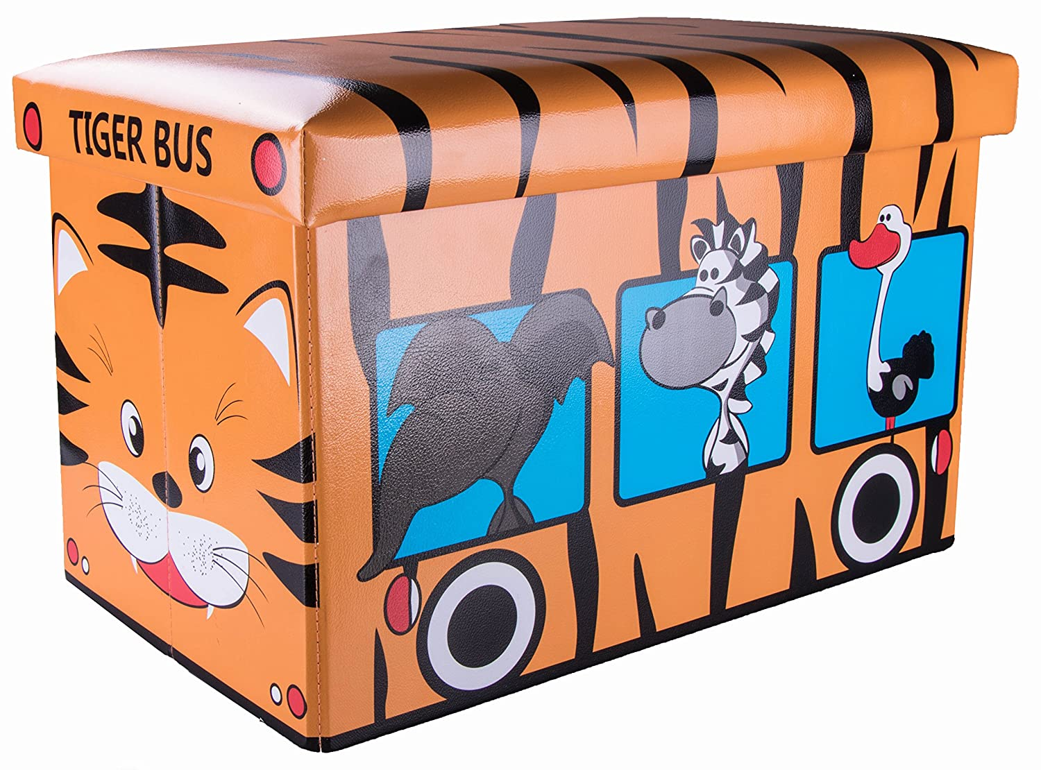 Safari Bus Collapsible Storage Organizer by Clever Creations | Storage Box Folding Storage Ottoman for Your Bedroom | Perfect Size Storage Chest for Books, Shoes & Games
