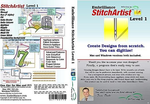 Amazon Com Embrilliance Stitchartist Level 1 Digitizing Embroidery Software For Mac Pc