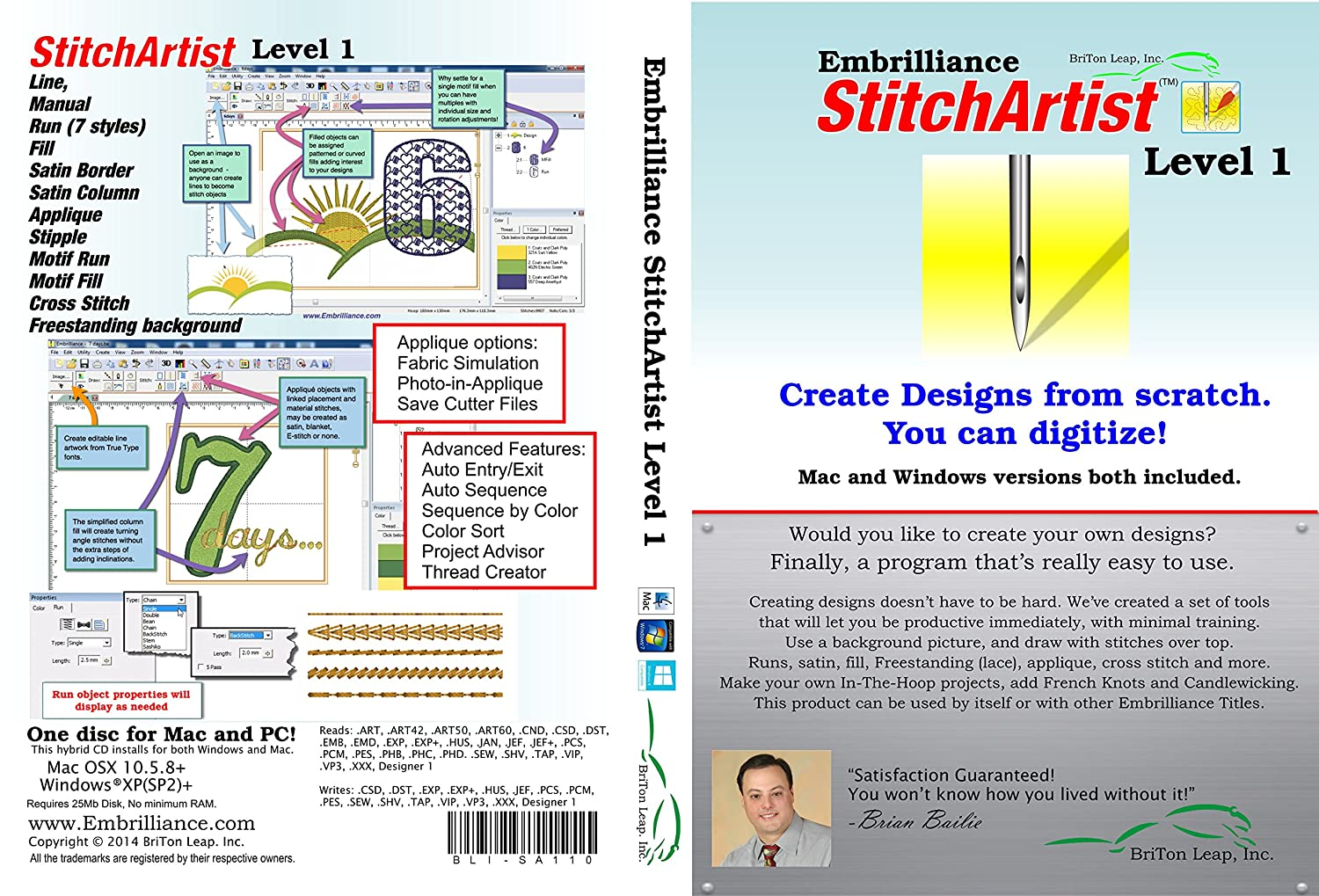 Best for beginners: Embrilliance Stitch Artist Level 1 Digitizing Software for MAC and PC