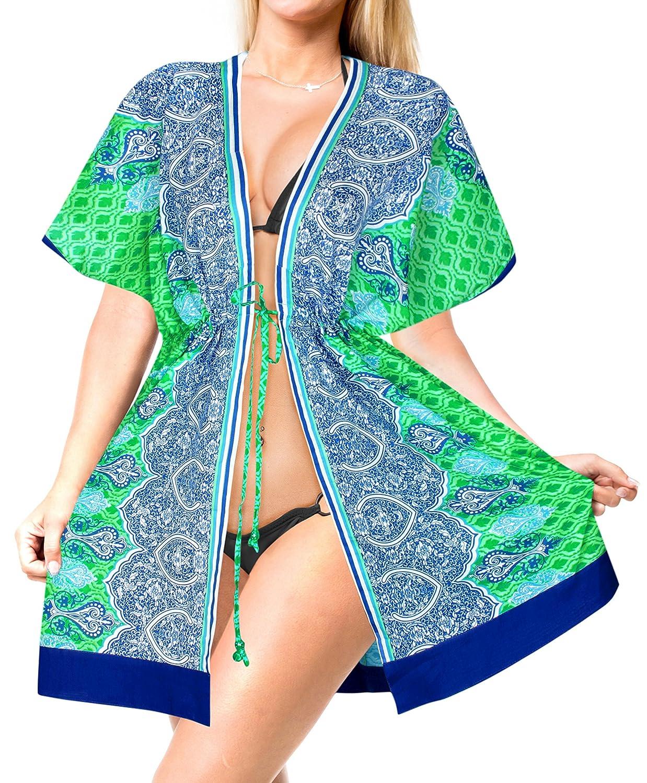 LA LEELA Swimsuit Beach wear Bikini Cover up Women Summer Dresses Printed CU Cotton NCM100 Ref(2436)