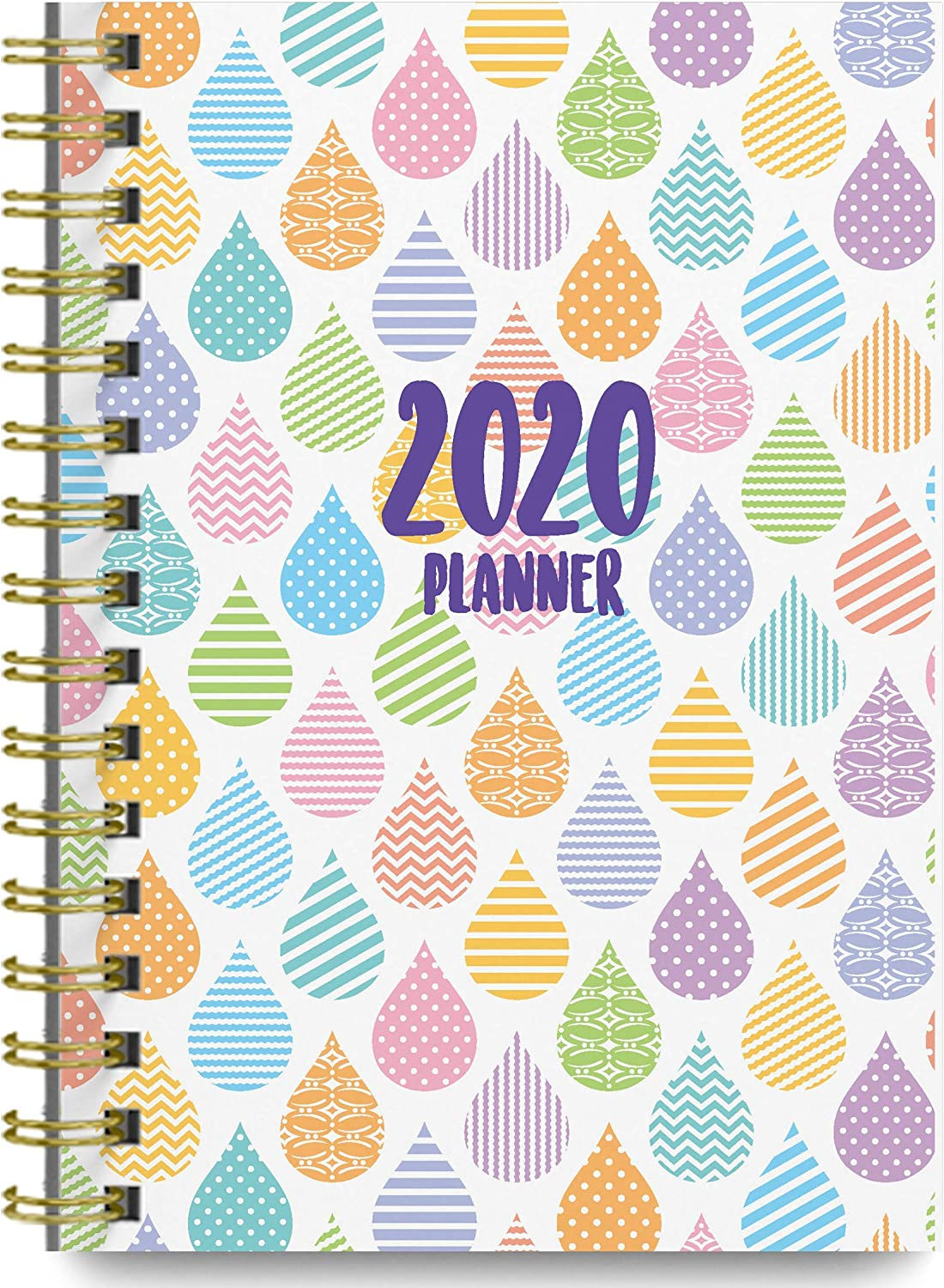 2020 Raindrops Soft Cover Academic Year Day Planner Book by Bright Day September 2019 to December 2020, Weekly Monthly Dated Agenda Spiral Bound Organizer, 6.25 x 8.25 Inch,