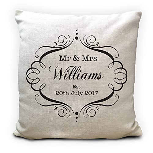 Mr and Mrs Personalised Wedding Cushion Cover Anniversary Gift 16 Inches 40cm: Amazon.co.uk: Handmade