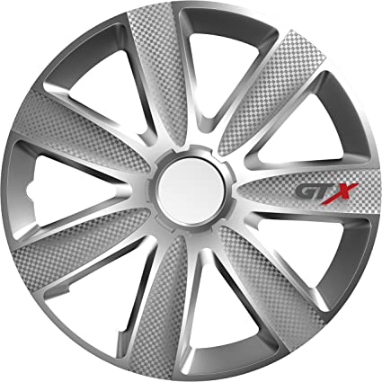Sakura GTXCARBON15 Tapacubos Juego de 4 Universal Fit, GTX Carbon ...