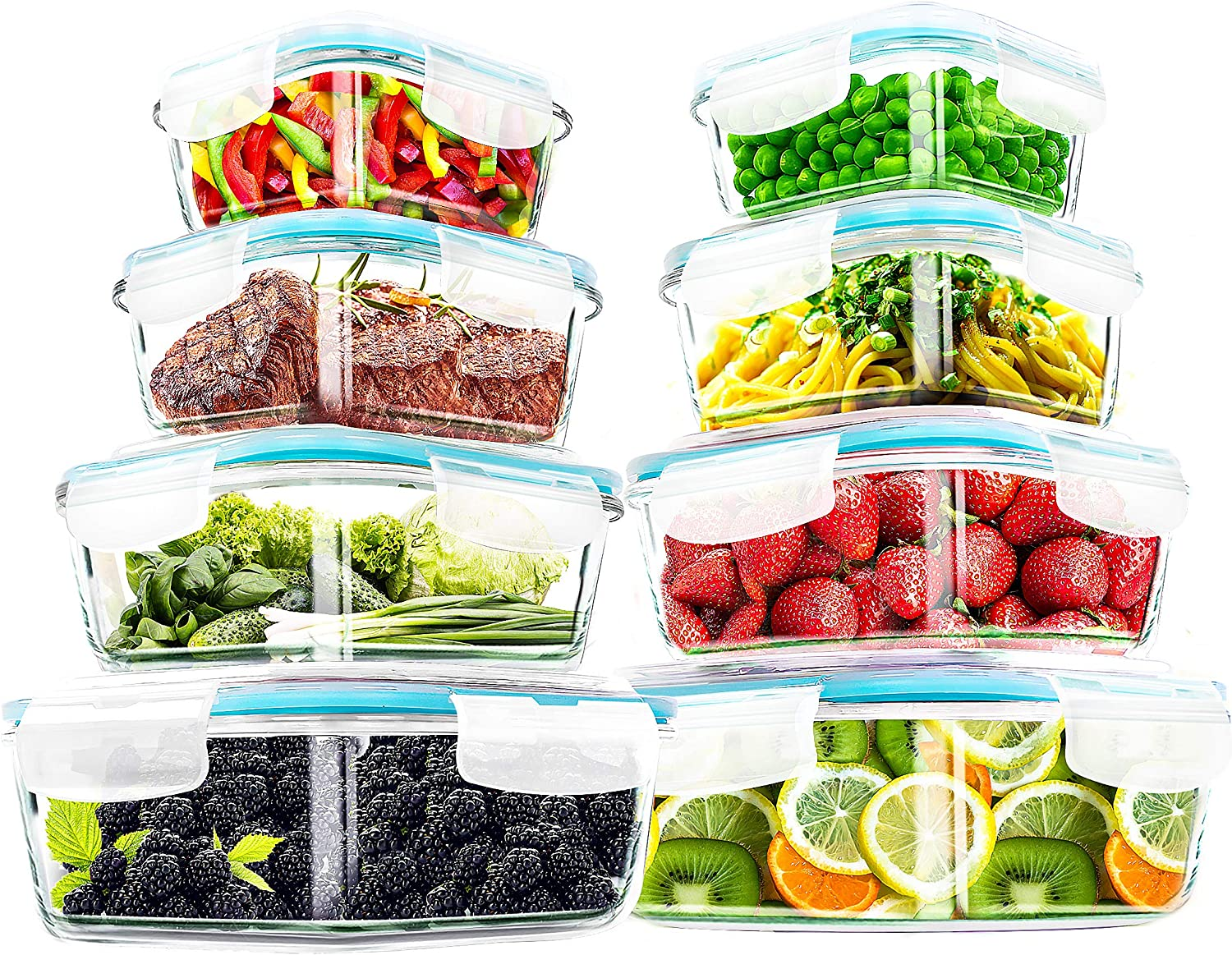 Utopia Kitchen- 16 Piece Glass Food Storage Container (8 containers, 8 transparent lids)- Stackable & Leak-proof- BPA Free locking lids- Easy to store food and carry on the go- From Oven to the Table