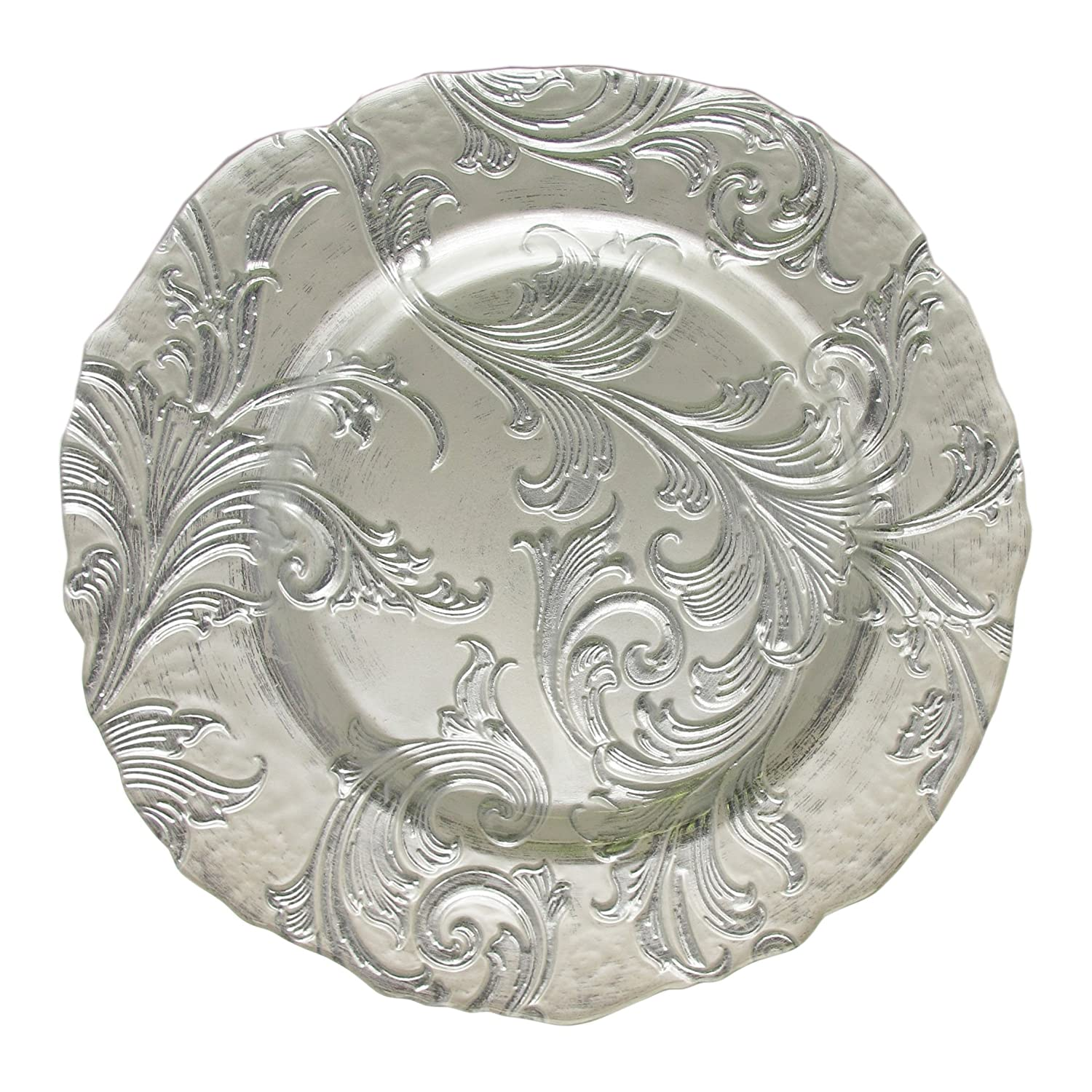 Substitute Ornate Silver Glass Charger Plates for the Sterling Silver Utility Trays