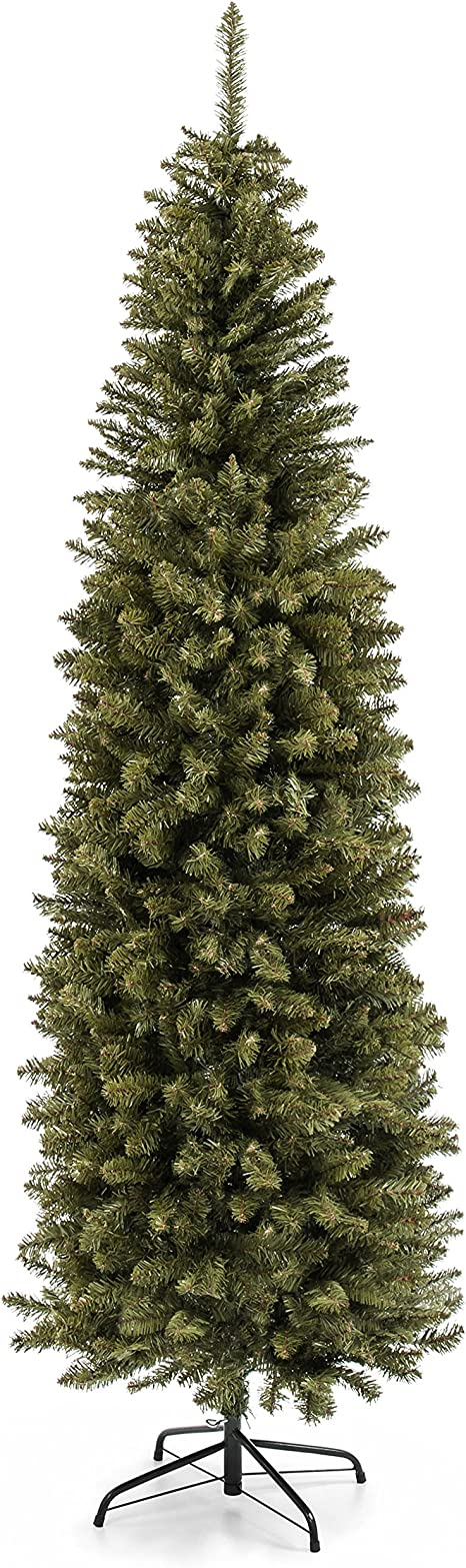 Amazon Com Best Choice Products 7 5ft Hinged Fir Pencil Artificial Christmas Tree W Metal Foldable Stand Easy Assembly Green Home Kitchen