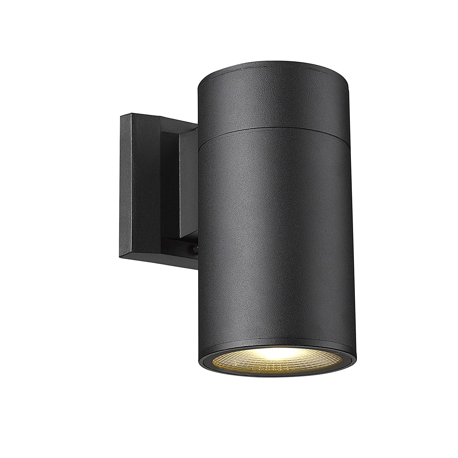 Down Light Black Finish Outdoor Wall Sconce FLALINKO Aluminum LED Wall Light 8W Super Bright Warm White for Garden Patio Exterior Corridor Cylinder - One Light 8-Inch Height