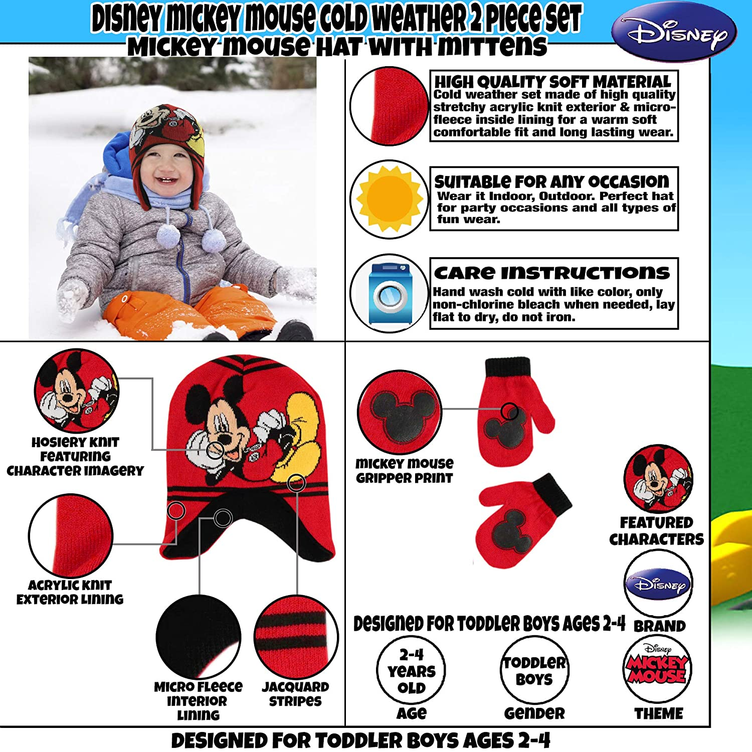 1e4921ae982 Amazon.com  Disney Boys  Toddler Mickey Mouse Clubhouse Hat and Mittens  Cold Weather Set
