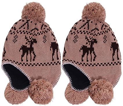 d7f4dcbd0f2f3 Simplicity 2PCS Women s Winter Reindeer Knit Beanie w Earflap Pom Balls