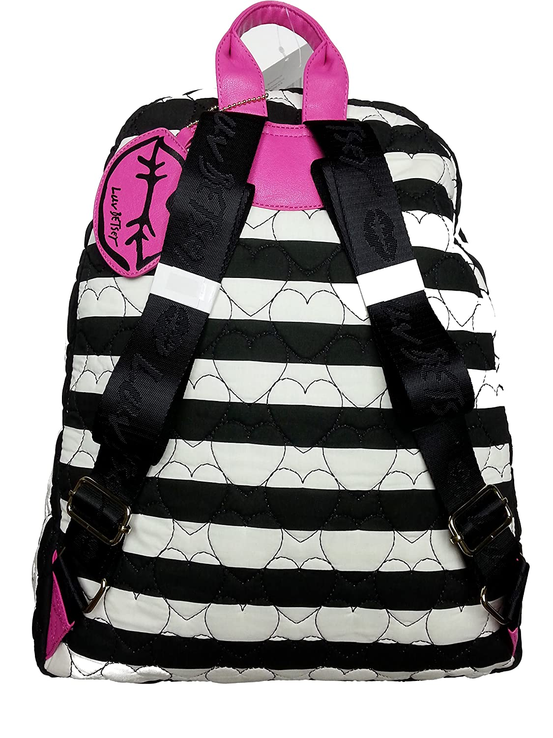 Girls Black and White Striped Heart Quilted Backpack Bag Betsey Johnson Luv Betsey Womens
