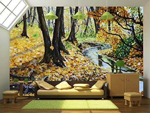 Autumn Forest with a Stream Original Landscape Painting.