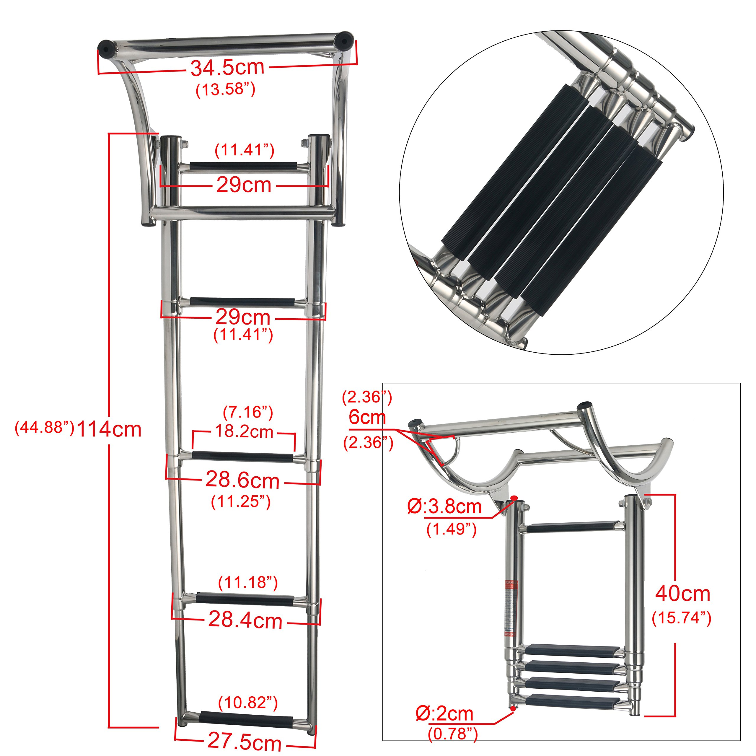 Amarine-made 4 Step Rib Ladder Stainless Steel Telescoping Swim Step Rubber Boat Ladder