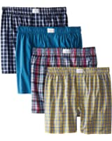 Tommy Hilfiger Men's Four-Pack Red/Blues Woven Boxer