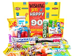 Woodstock Candy 90th Birthday Gifts for Women & Men - Classic Candy for 90 Years Old Man & Woman - Retro Candy Basket for Milestone Birthday - Unique Presents for Mom, Dad, Grandmother, Grandfather