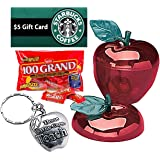 """Back To School, Teacher Appreciation, End Of School Year 8pc Red Apple Gift Set! """"Those Who Care Teach"""" Pre Filled, Pre Wrapped & Ready For Giving!"""