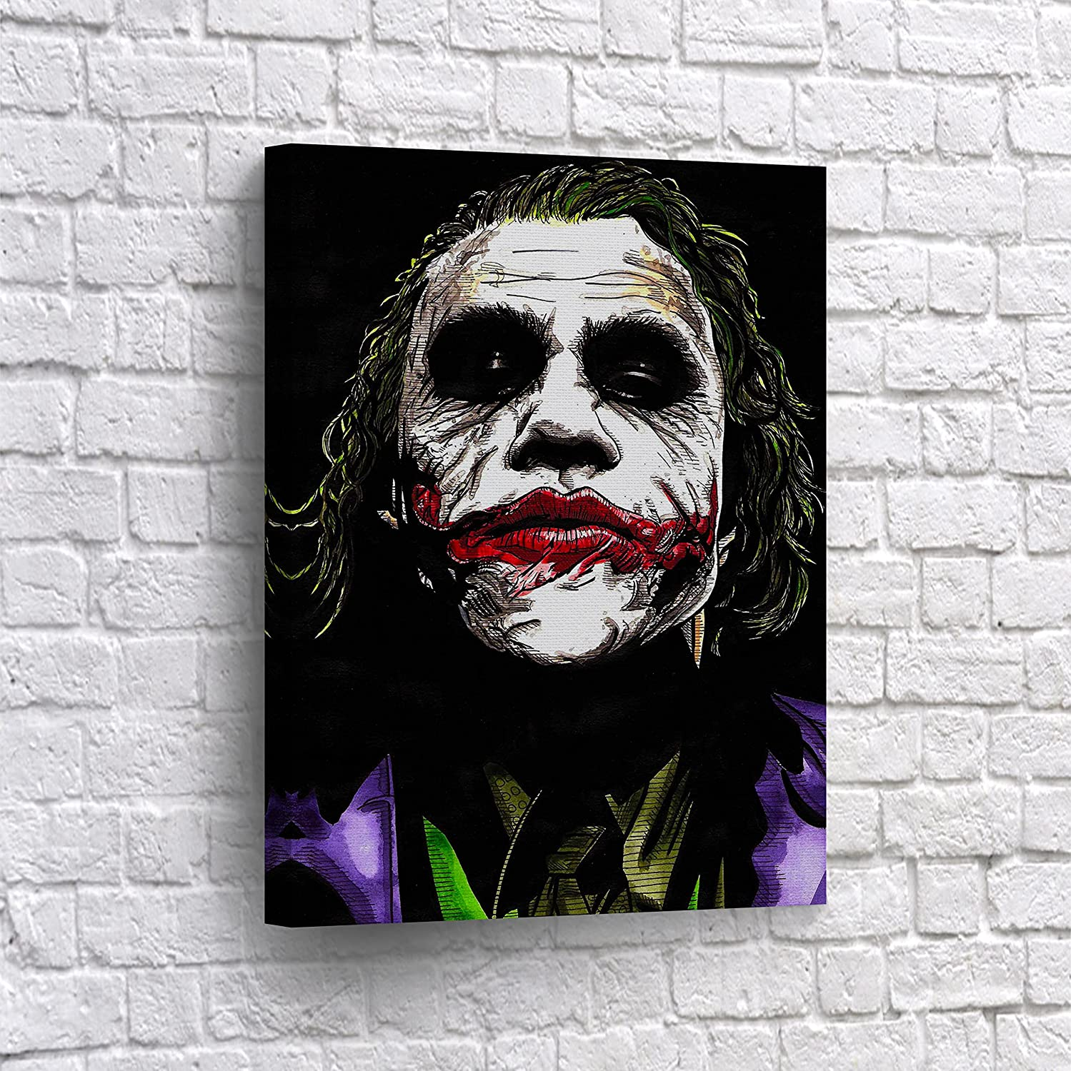 The Joker Heath Ledger Drawing Vector Paint Canvas Print Wall Art Decorative Home Decor Poster Artwork Framed And Stretched Ready To Hang 100