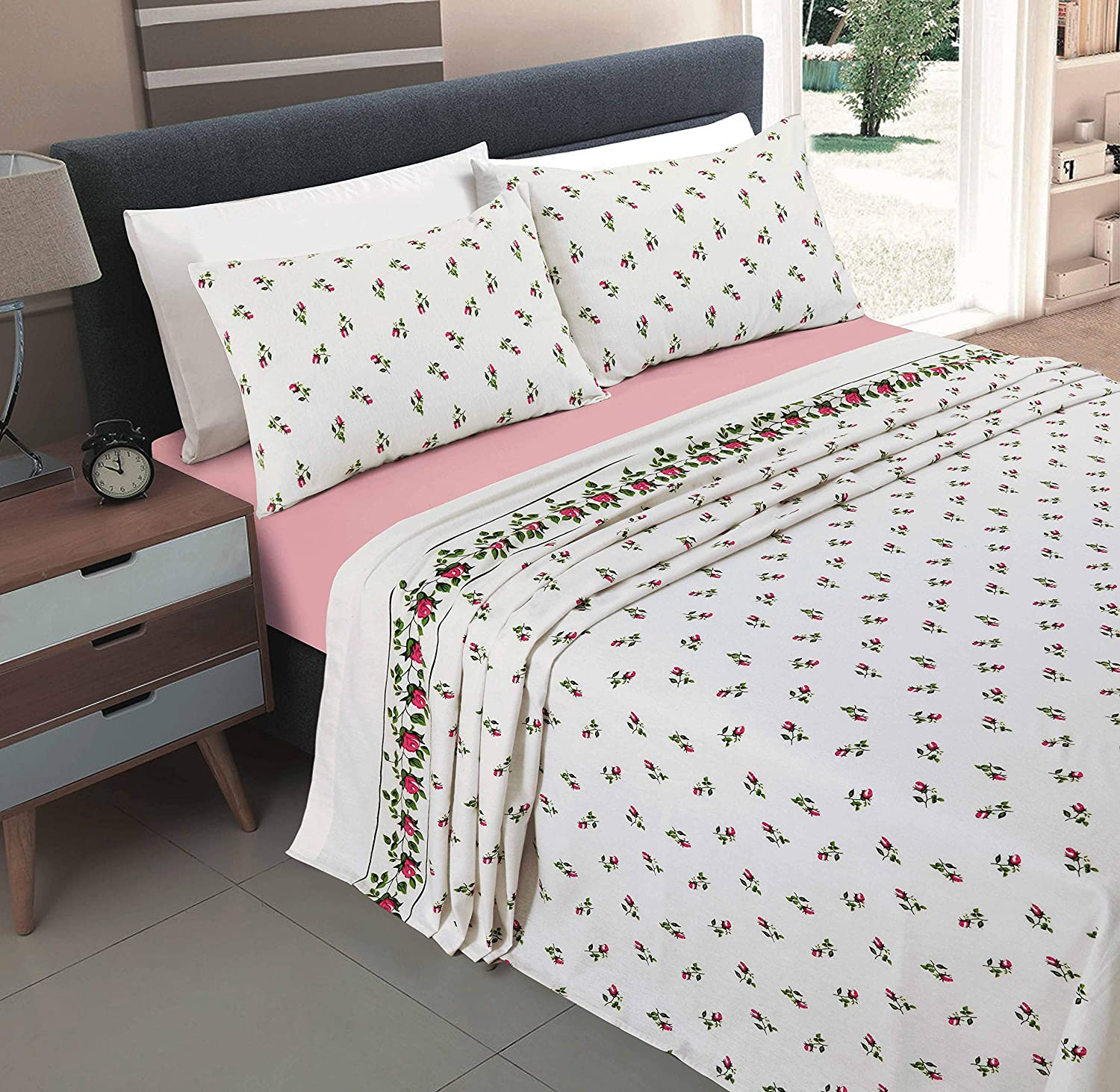 Nz Rose Bud Floral Pattern Flannelette 100 Natural Brushed Cotton Thermal Fitted And Flat Sheet Set With Pillowcases Pink King Size Sheet Set Amazon Co Uk Kitchen Home