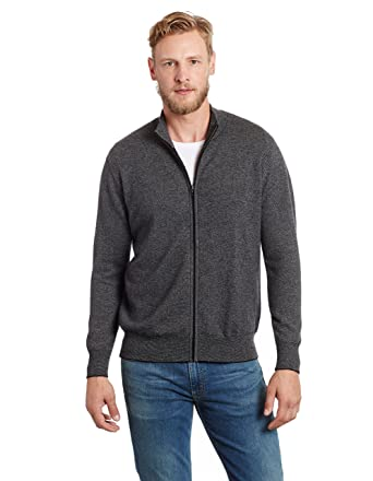 d9ac0e0463c Invisible World Men s 100% Cashmere Italian Style Tweed Cardigan Charcoal SM