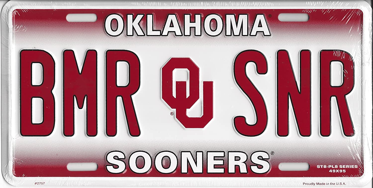 Oklahoma Sooners BMR SNR Metal License Plate Smart Blonde