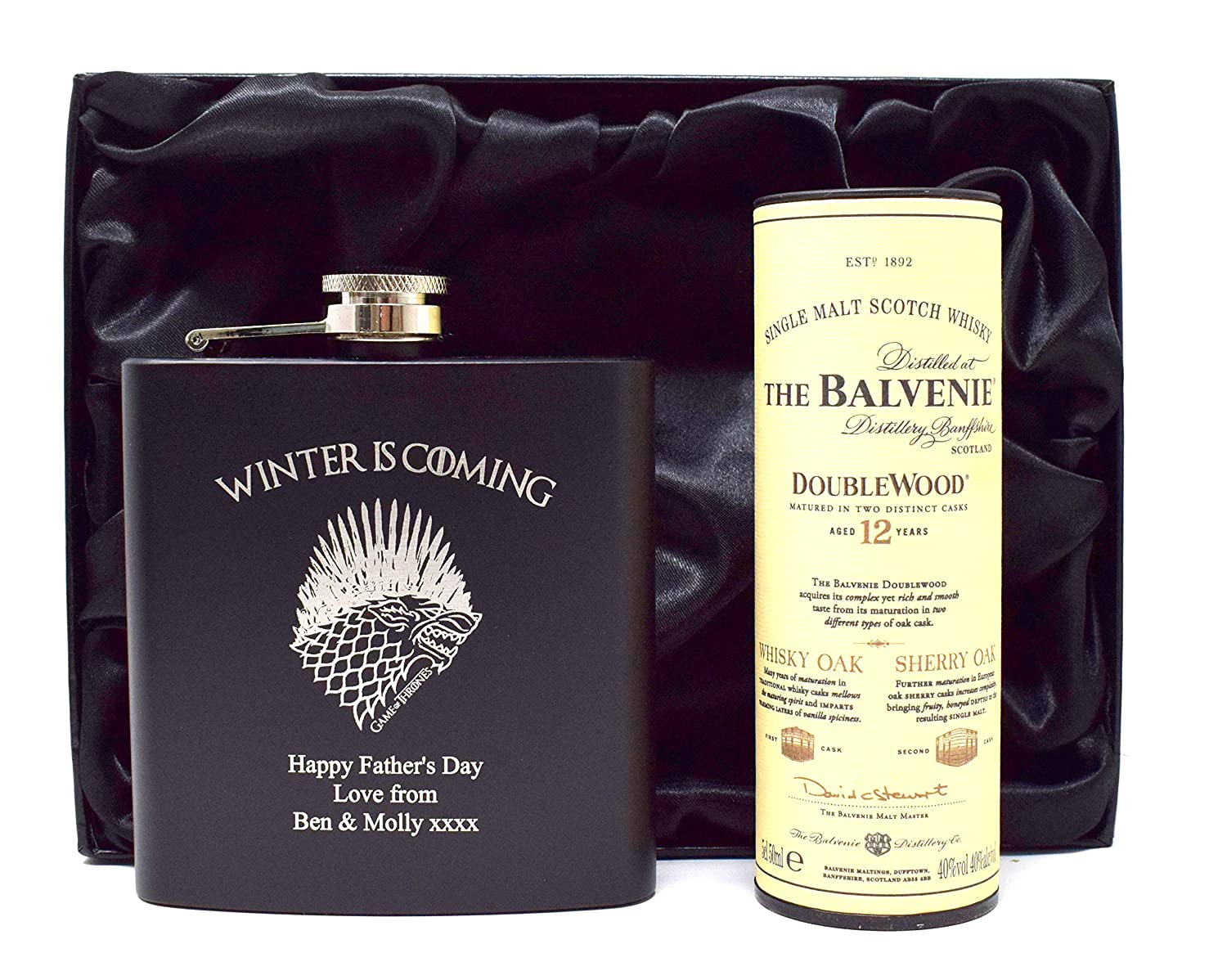 Jack Daniels Engraved//Personalised *Game of Thrones Winter is Coming Design* Black Hip Flask /& Miniature Bottle of Alcohol in Silk Gift Box