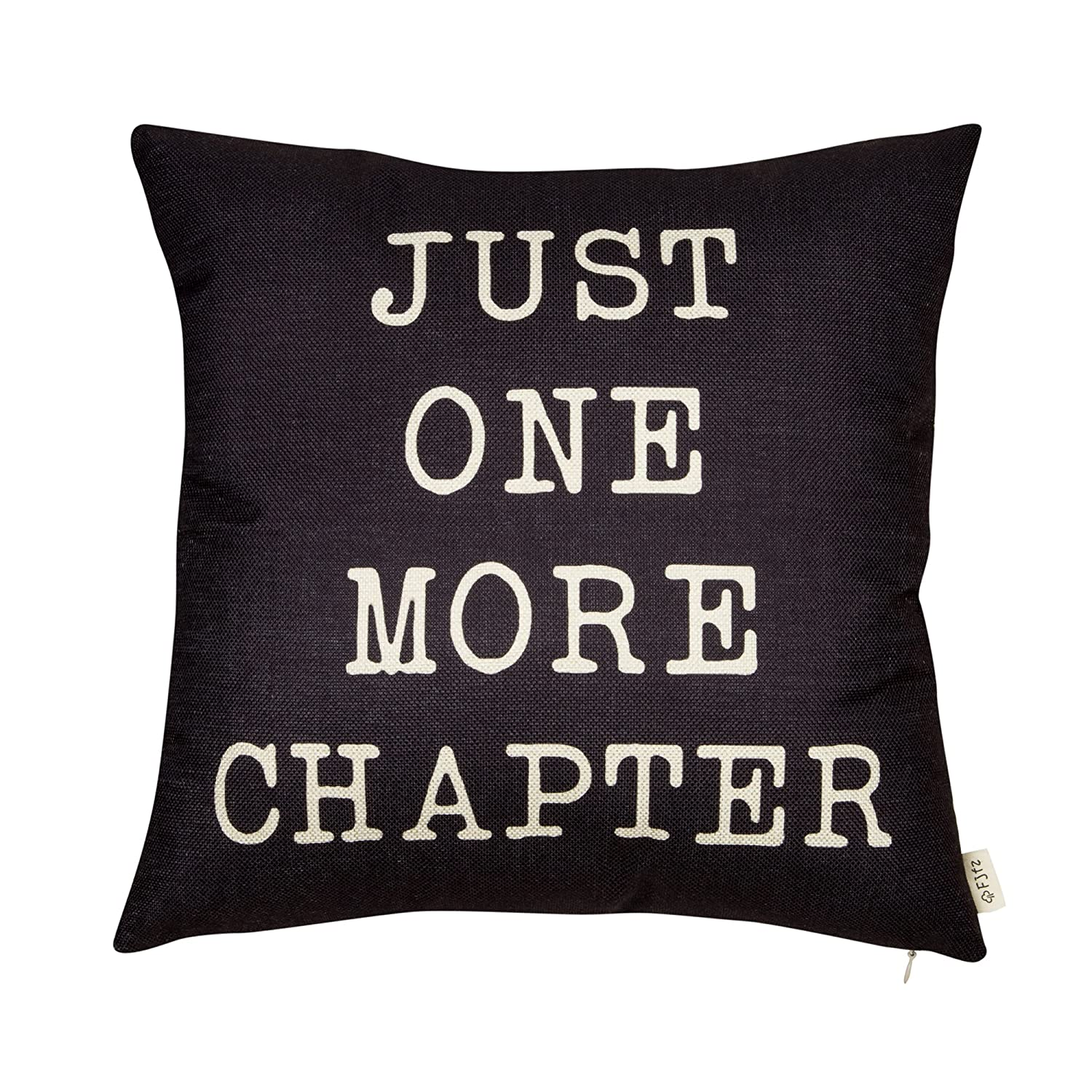 "Fjfz Just One More Chapter Motivational Sign Decor Reading Decoration Cotton Linen Home Decorative Throw Pillow Case Cushion Cover with Words for Book Lover Worm Sofa Couch, Black, 18"" x 18"""