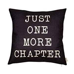 """Fjfz Just One More Chapter Motivational Sign Decor Reading Decoration Cotton Linen Home Decorative Throw Pillow Case Cushion Cover with Words for Book Lover Worm Sofa Couch, Black, 18"""" x 18"""""""