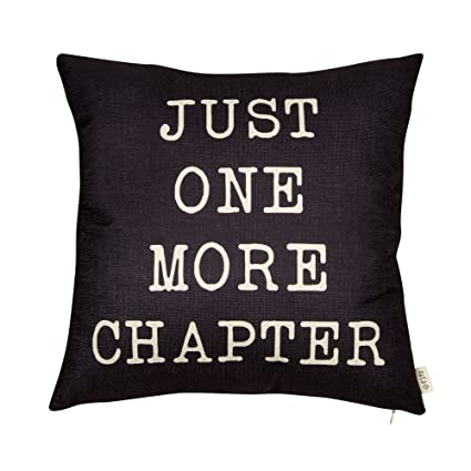 Fjfz Just One More Chapter Motivational Sign Decor Reading Decoration Cotton Linen Home Decorative Throw Pillow Case Cushion Cover with Words for Book ...