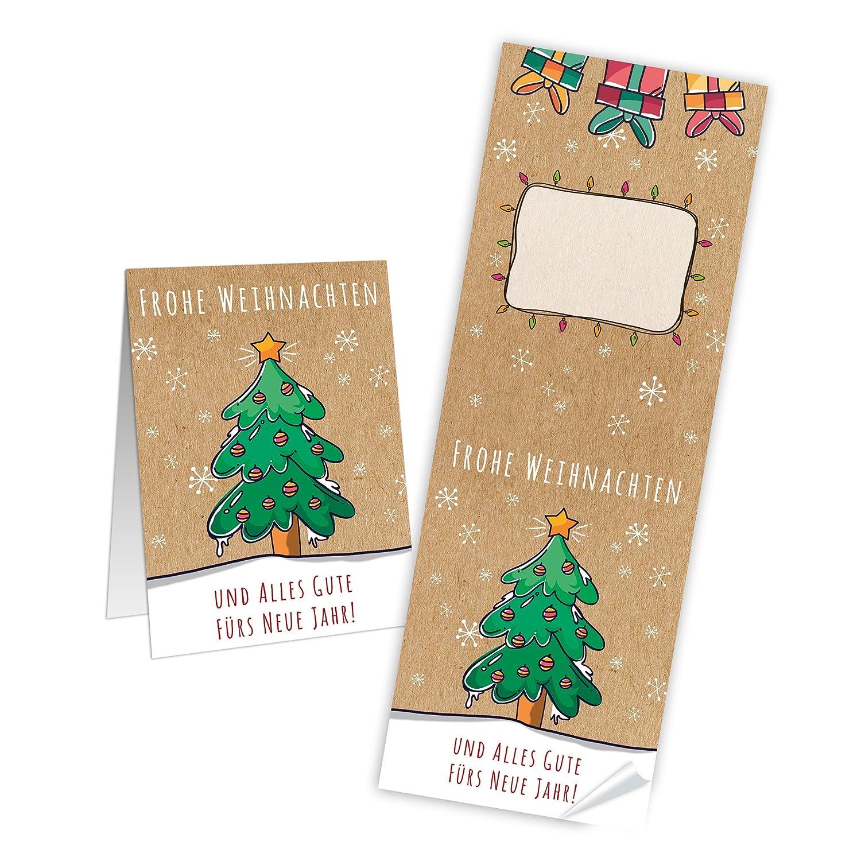 Frohe Weihnachten Und Alles Gute Im Neuen Jahr.100 Lange Weihnachtsaufkleber Baum Grun Rot Beige Natur