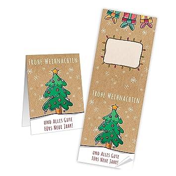 Frohe Weihnachten Und Alles Gute Im Neuen Jahr.100 Lange Weihnachtsaufkleber Baum Grün Rot Beige Natur Und Alles