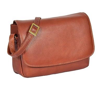 Womens Brown Shoulder Leather Organiser Cross Body Work Messenger ... 70257d839a