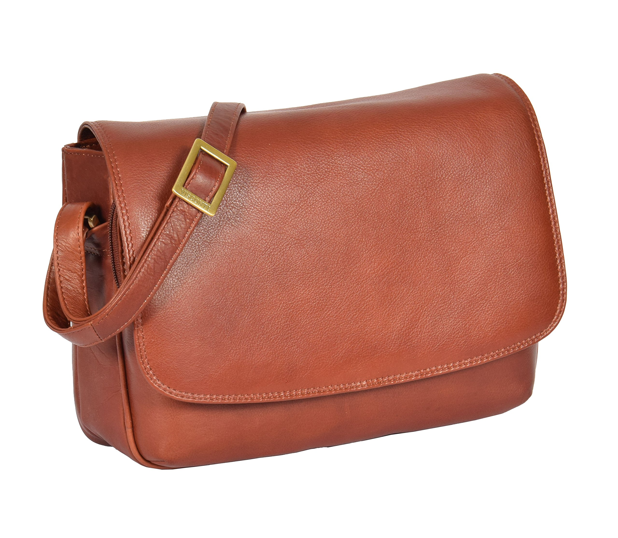 Womens Brown Shoulder Leather Organiser Cross Body Work Messenger Bag A190 by A1 FASHION GOODS (Image #1)