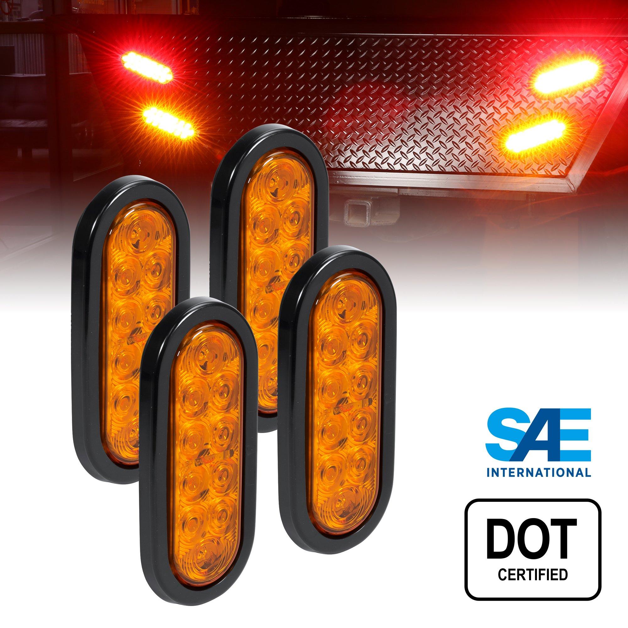 4pc 6'' Oval LED Trailer Tail Lights - AMBER LED Park Turn Trailer Lights for RV Trucks (DOT Certified, Grommet & Plug Included)
