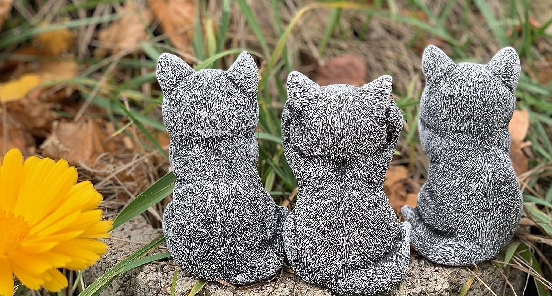 Lot de 3 chatons en pierre Niches ne voient rien les rivi/ères contre les intemp/éries