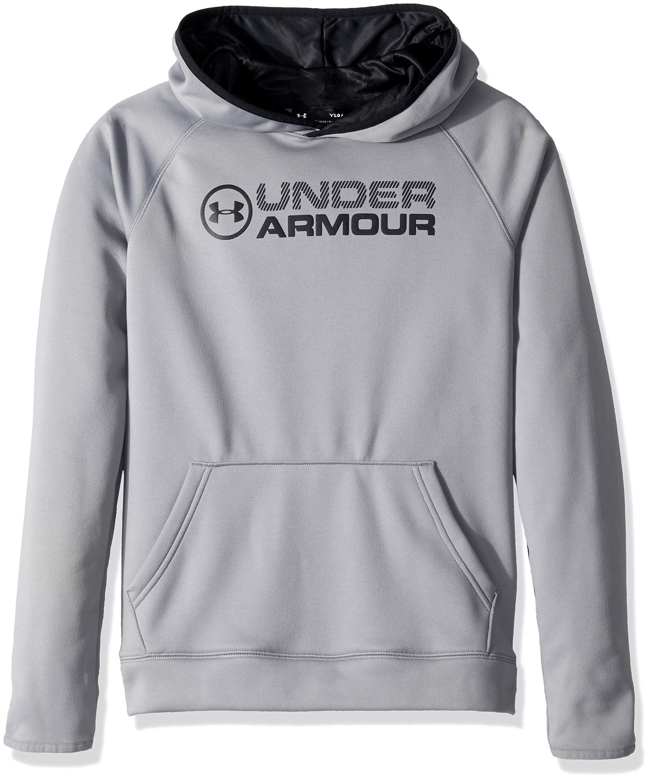 Under Armour Boys Fleece Stacked Hoodie, Steel (035)/Black, Youth Large by Under Armour