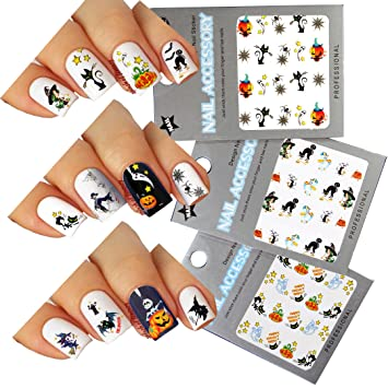 Amazon halloween nail art water tattoo decals mixed design halloween nail art water tattoo decals mixed design pack of 3 prinsesfo Image collections