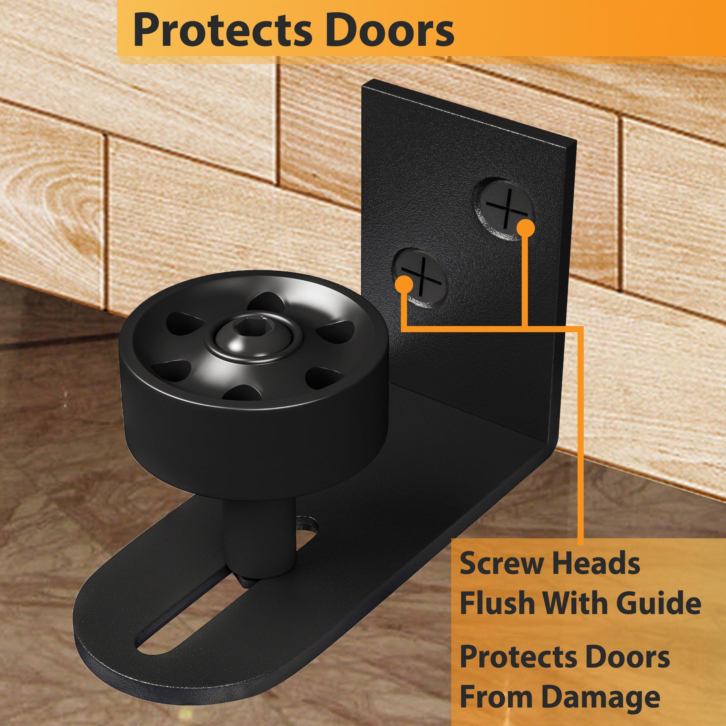 Barn Door Floor Guides with''Ball Bearings'' | Adjustable Stay Roller  Bottom Sliding Doors | Wall Mounted Bracket Flat on Floor | All Black  Hardware