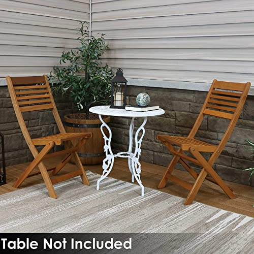 Sunnydaze Meranti Wood Outdoor Folding Patio Chairs – Set of 2 – Outside Wooden Bistro Furniture for Lawn, Deck, Balcony, Garden and Porch – Teak Oil Finish