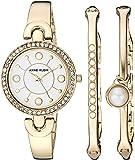 Anne Klein 女士 AK/3288GBST 施华洛世奇水晶装饰金色手表和手镯套装