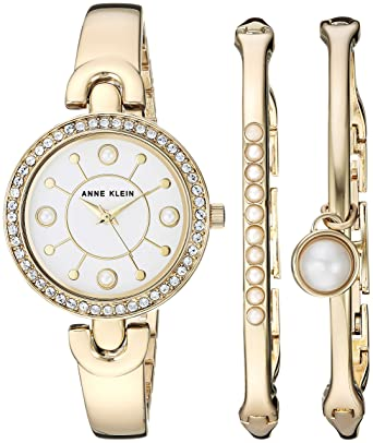 2c82155c3 Amazon.com: Anne Klein Women's AK/3288GBST Swarovski Crystal Accented Gold- Tone Watch and Bangle Set: Watches