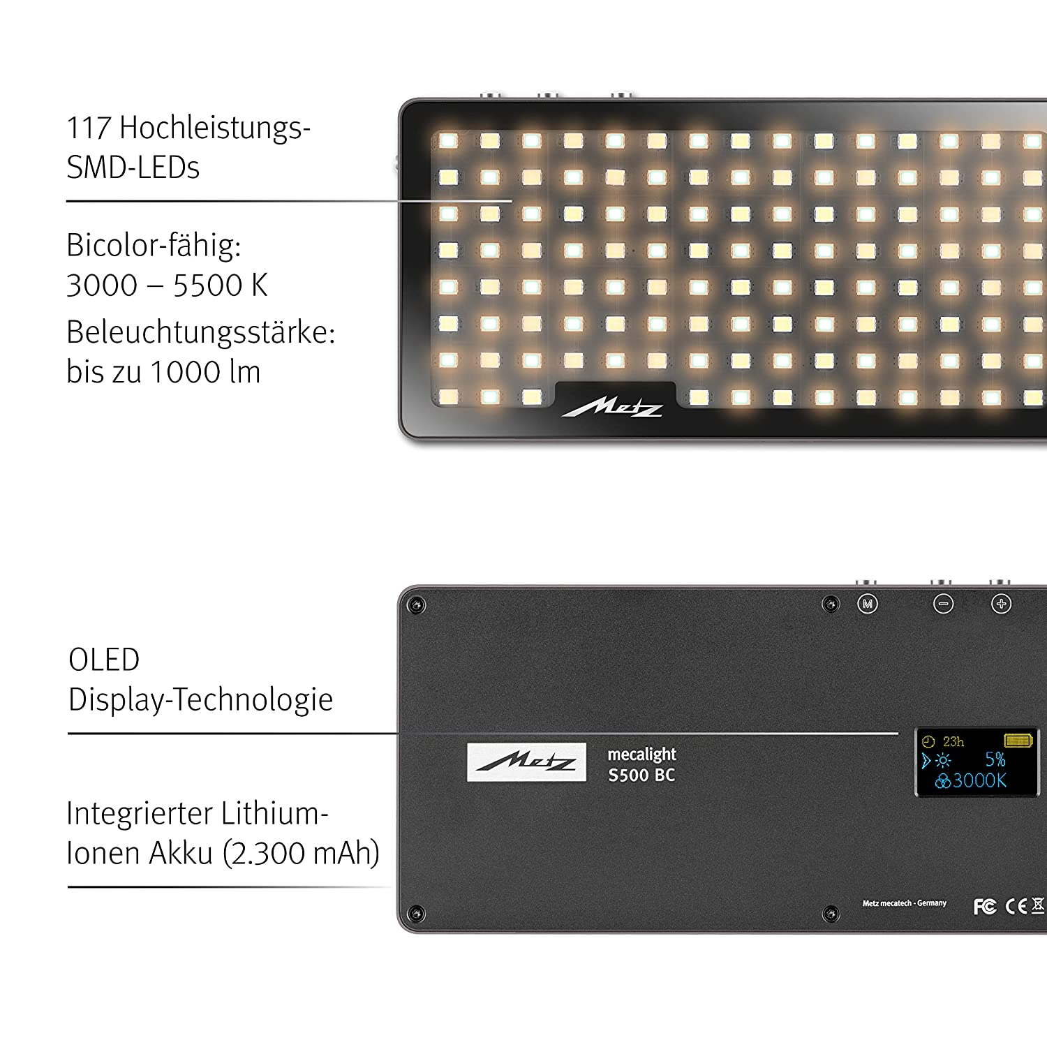 Metz mecalight S500 LED Video Light for Video and Photography in Smartphone Format/SMD High Performance with up to 1000 Lumen/Bi-Colour Camera & Photo 3000 to 5500 K