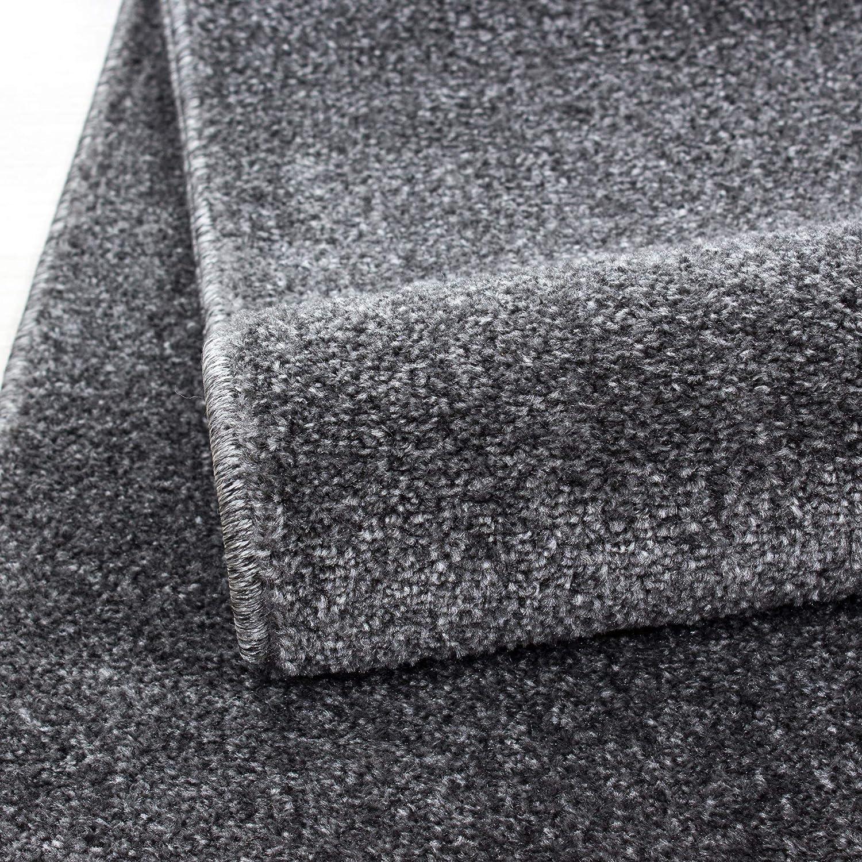 HomebyHome Einfarbig Moderner Kurzflor Guenstige Teppich Uni Grau meliert Wohnzimmer, Schlafzimmer, Diele, Küche, Größe 280x370 cm