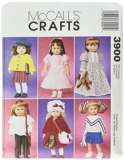 McCalls 3900 - Patrones de costura para confeccionar vestidos para muñecas (de hasta 45 cm