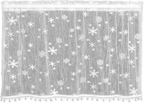 Heritage Lace Wind Chill Tier with Trim, 45 by 30-Inch, White
