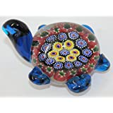 """Murano Design Glass Art Multicolor Turtle Paperweight 4"""" Long"""