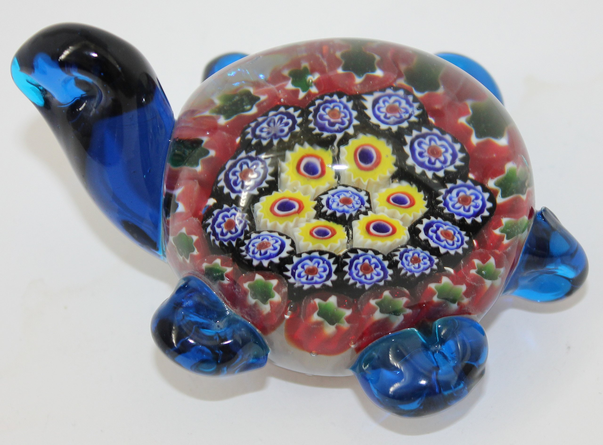 Murano Design Glass Art Multicolor Turtle Paperweight 4'' Long