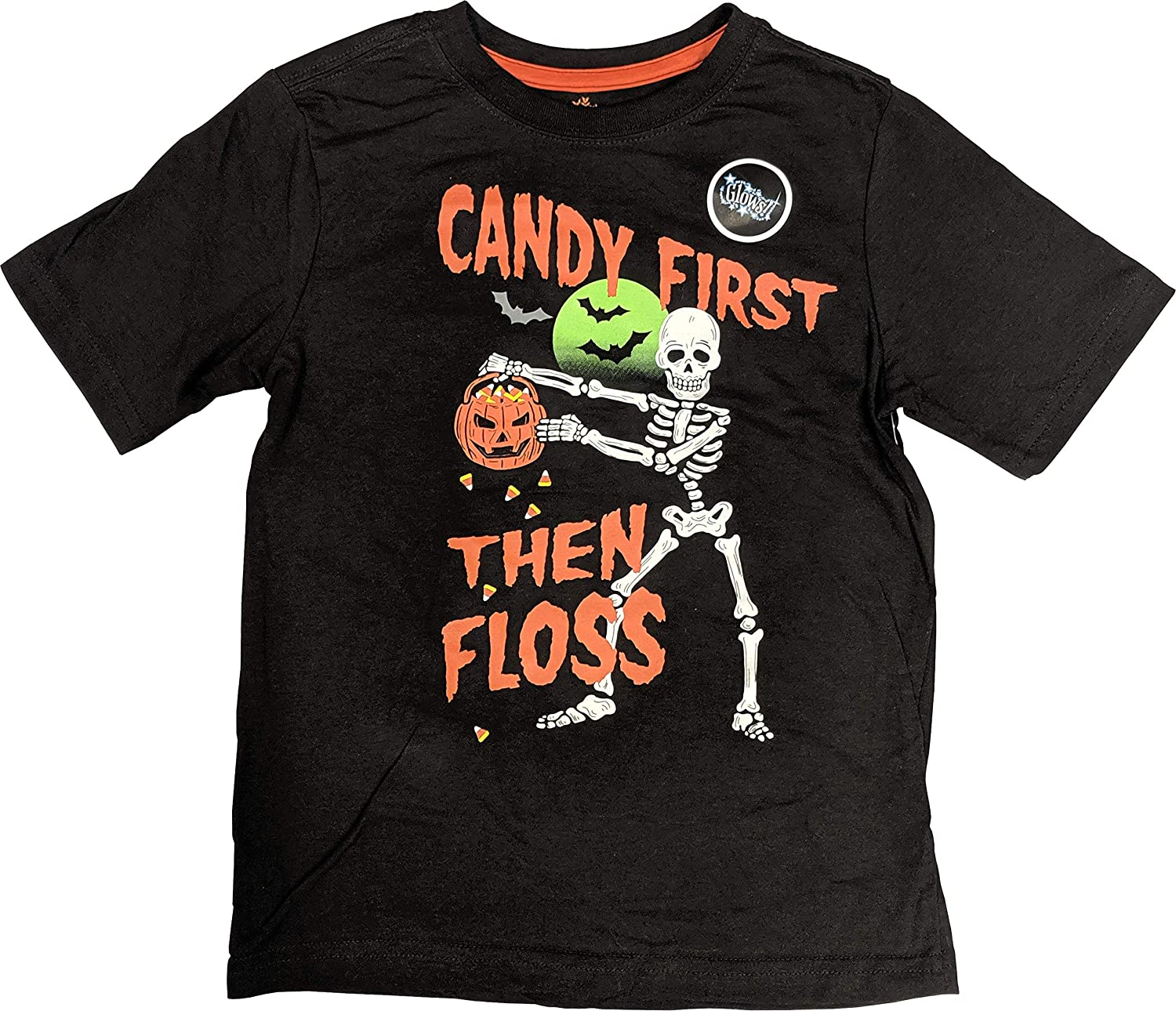 Halloween Glow in The Dark Shirt Candy First Then Floss Tee for Boys