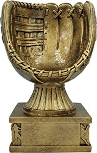 Softball Glove Action Pedestal Trophy, Gold – Slow Pitch Award - 8 Inch Tall - Engraved Plate on Request