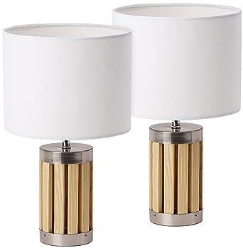 Tablede Cm En Tissubeige Moderne De Design Brubaker Lot Lampe Métal Abat 2 Hauteur Pied Chevet 33 Boisamp; Jour CxWQdoBreE