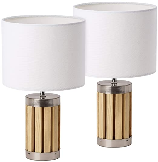Juego de 2 lámparas de mesa o de noche BRUBAKER - altura 33 cm ...